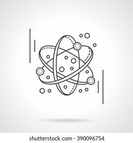 Electronics transform. Atomic or molecule model. Science and education concept. Flat line style vector icon. Single design element for website, business.
