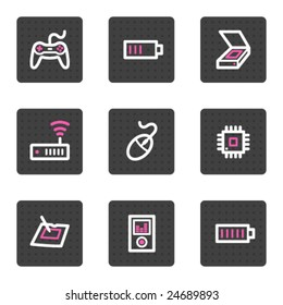 Electronics web icons, grey square buttons series set 2