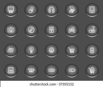 Electronics web icons, metal circle buttons series