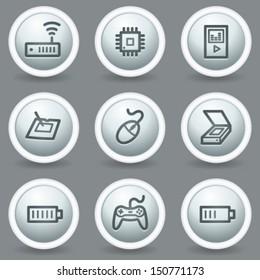 Electronics web icons set 2, circle grey matte buttons
