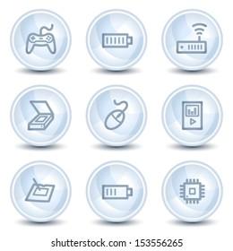 Electronics web icons set 2, light blue glossy circle buttons