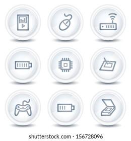 Electronics web icons set 2, white glossy circle buttons