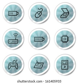 Electronics web icons set 2, blue shine stickers series