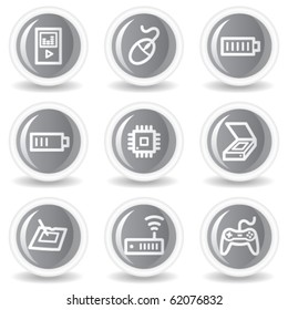 Electronics web icons set 2, circle grey glossy buttons