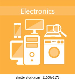 Electronics zone. Electronic device isolated on orangebackground