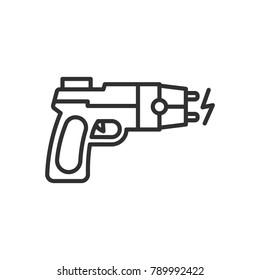 electroshock gun. linear icon. Line with Editable stroke