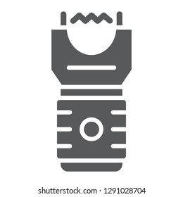 Electroshock weapon glyph icon, protection and security, firearm sign, vector graphics, a solid pattern on a white background, eps 10.