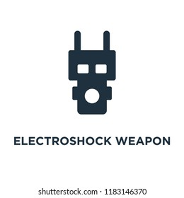 Electroshock weapon icon. Black filled vector illustration. Electroshock weapon symbol on white background. Can be used in web and mobile.