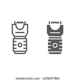 Electroshock weapon line and glyph icon, protection and security, firearm sign, vector graphics, a linear pattern on a white background.