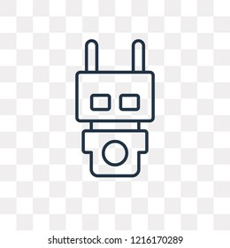 Electroshock weapon vector outline icon isolated on transparent background, high quality linear Electroshock weapon transparency concept can be used web and mobile