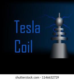 Electrostatic lightning from tesla coil on black background,vector illustration