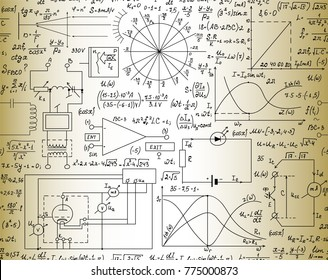 Electrotechnical vector seamless pattern with handwritten formulas, mathematical calculations and plots
