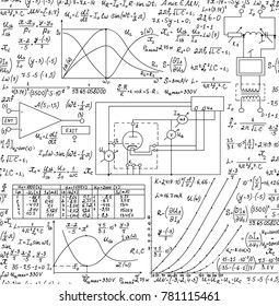 Electrotechnical vector seamless pattern with handwritten formulas, plots and calculations