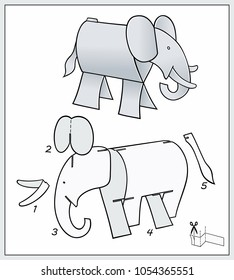 Elefant from pieces of paper. ?omposite figure. Complex form with blueprint template. Vector illustration