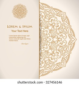 elegance card with half round lace ornament, mandala, for greeting, invitation card, or cover. Vector illustration