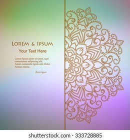 elegance card with half round lace ornament over blurry background, mandala, for greeting, invitation card, or cover. Vector illustration