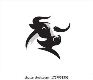 Elegance drawing art buffalo cow ox bull head logo design inspiration
