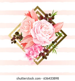 Elegance flowers bouquet of color roses and tulips. Composition with blossom flowers and branches on the geometric design element. Vector illustration.