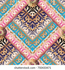 Elegance greek key meanders seamless pattern. Vector geometric background. Ornate wallpapers design. Tracery abstract ornaments. Gold pink 3d ornamental meander frames, shapes, lines. Surface texture
