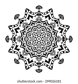 elegance hand drawn round black lace ornament, mandala, zentangle, vector illustration