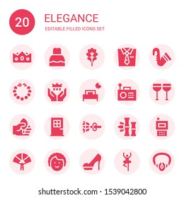 elegance icon set. Collection of 20 filled elegance icons included Crown, Dress, Leaf, Tie, Saxophone, Pearl necklace, Bed, Radio, Glasses, Door, Earrings, Bamboo, Paper fan, Dancer