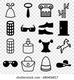 Elegance icons set. set of 16 elegance filled and outline icons such as door, hair curler, man shoe, blouse, tie, woman hat, sunglasses, greek column, woman bag, bamboo, bag
