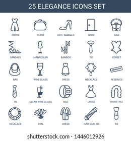 elegance icons. Trendy 25 elegance icons. Contain icons such as dress, purse, heel sandals, door, bag, sandals, mannequin, bamboo, tie, corset. elegance icon for web and mobile.