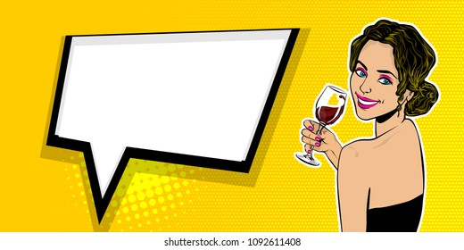 Elegance pop art brunette woman smiling look back and hold glass of wine. Comic text speech bubble vector illustration. Summer party poster advertisement. Retro halftone vintage cartoon style.