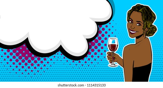 Elegance pop art woman wow face look back hold glass of wine. Black african girl. Comic text speech bubble vector illustration. Summer party poster advertisement. Retro vintage cartoon style.