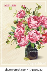 Elegance retro Floral greeting design with Roses and Peonies on light background, eps8