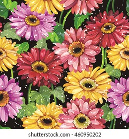 Elegance seamless floral pattern for textile design with gerbera daisy flowers, eps8
