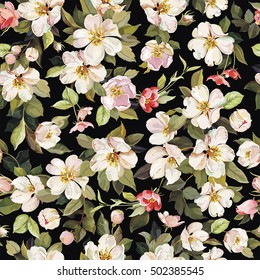 Elegance seamless flowers pattern with Watercolor cherry branch