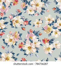 Elegance seamless pattern with blossoming apple tree. Watercolor cherry and Jasmine branch