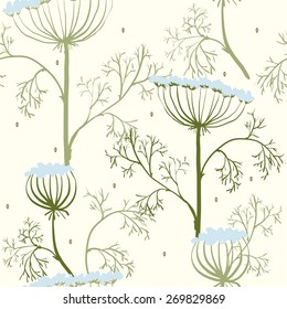 Elegance Seamless pattern with flowers, vector floral illustration in vintage style, Ukraine, dill.