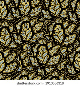 Elegance seamless pattern with plant organic psychedelic structures and elements.