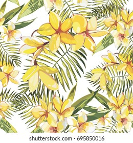 Elegance seamless pattern in vintage style with Plumeria flowers.