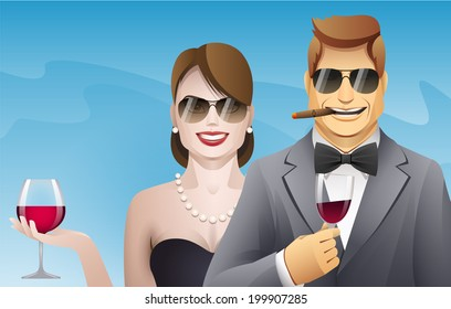 elegance smiling man and woman with glasses of wine