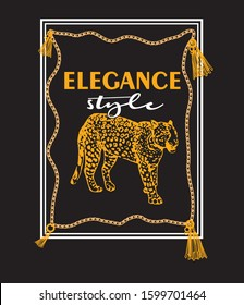 The elegance style fonts with a leopar on the black background slogan concept. vektor illustration