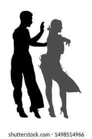 Elegance tango Latino dancers vector silhouette isolated on white background. Dancing couple. Partner dance salsa, woman and man in love. lady and gentleman dance passionate Latin erotic sensual dance