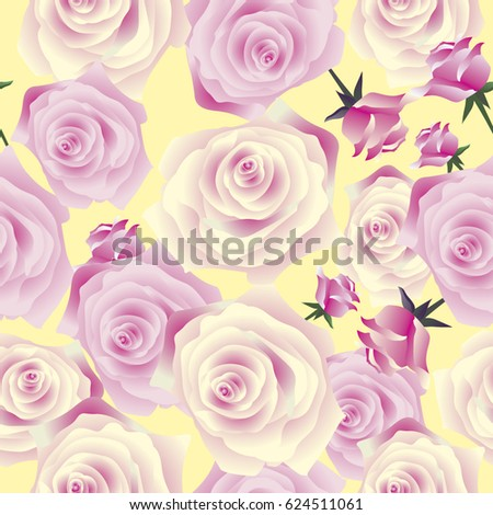 Elegance Wallpaper Pink Roses Vintage Decorative Stock Vector