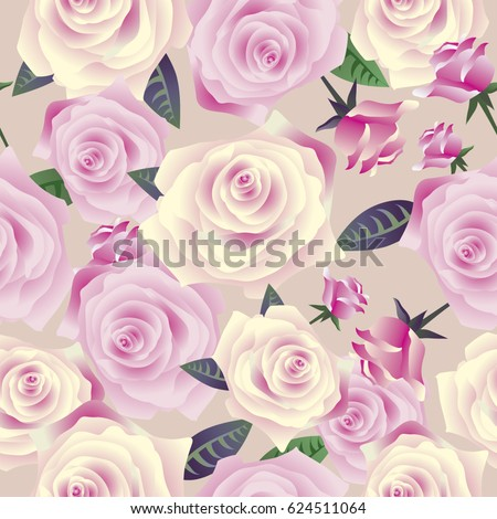 Elegance Wallpaper With Of Pink Roses Vintage Decorative Seamless Pattern
