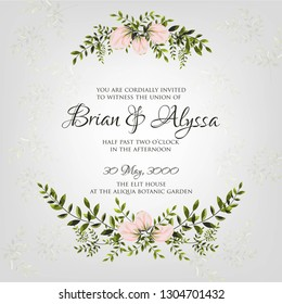 Elegance Wedding Invitation Floral Wreath with pink flowers Anemones, leaves, branches, wild Privet Berry, vector floral illustration in vintage watercolor style - Vector