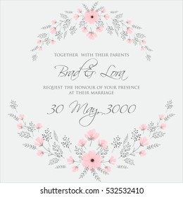 Elegance Wedding Invitation Floral Wreath with pink flowers Anemones, leaves, branches, wild Privet Berry, vector floral illustration in vintage watercolor style
