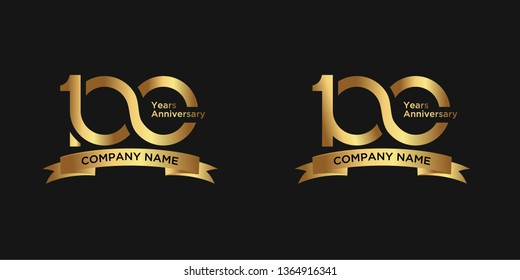 elegant 100 years anniversary logo template with ribbon in gold color, vector file eps 10 text is easy to edit