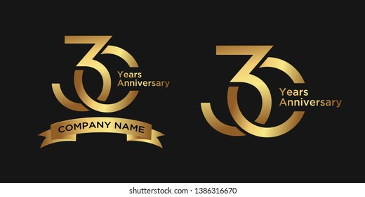 elegant 30 years anniversary logo template with ribbon in gold color, vector file eps 10 text is easy to edit