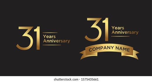 elegant 31 years anniversary logo template with ribbon in gold color, vector file eps 10 text is easy to edit