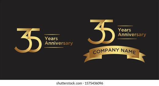 elegant 35 years anniversary logo template with ribbon in gold color, vector file eps 10 text is easy to edit
