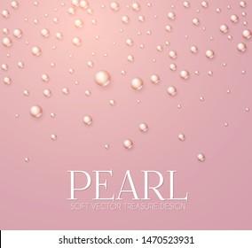 Elegant 3D Pink Pearls. Pearl Beads. Treasure realistic design.