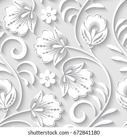 Elegant 3d seamless floral pattern. Vector Illustration