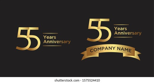 elegant 55 years anniversary logo template with ribbon in gold color, vector file eps 10 text is easy to edit